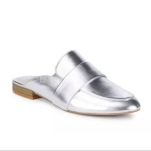 Dolce Vita Cecil Silver Leather Mule Loafer Flat